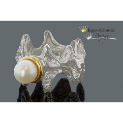 """Perlenring """"Zigzag with pearl"""""""
